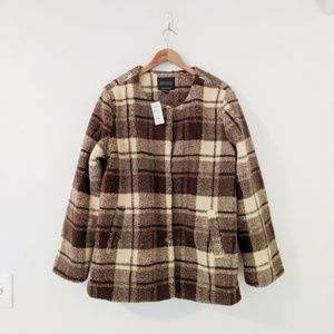 NWT Sanctuary Brown Plaid Snap Front Teddy Coat